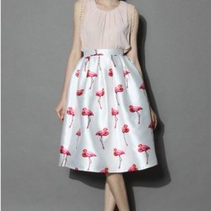 Neon Flamingo high-waisted Midi Skirt CHICWISH 🎀